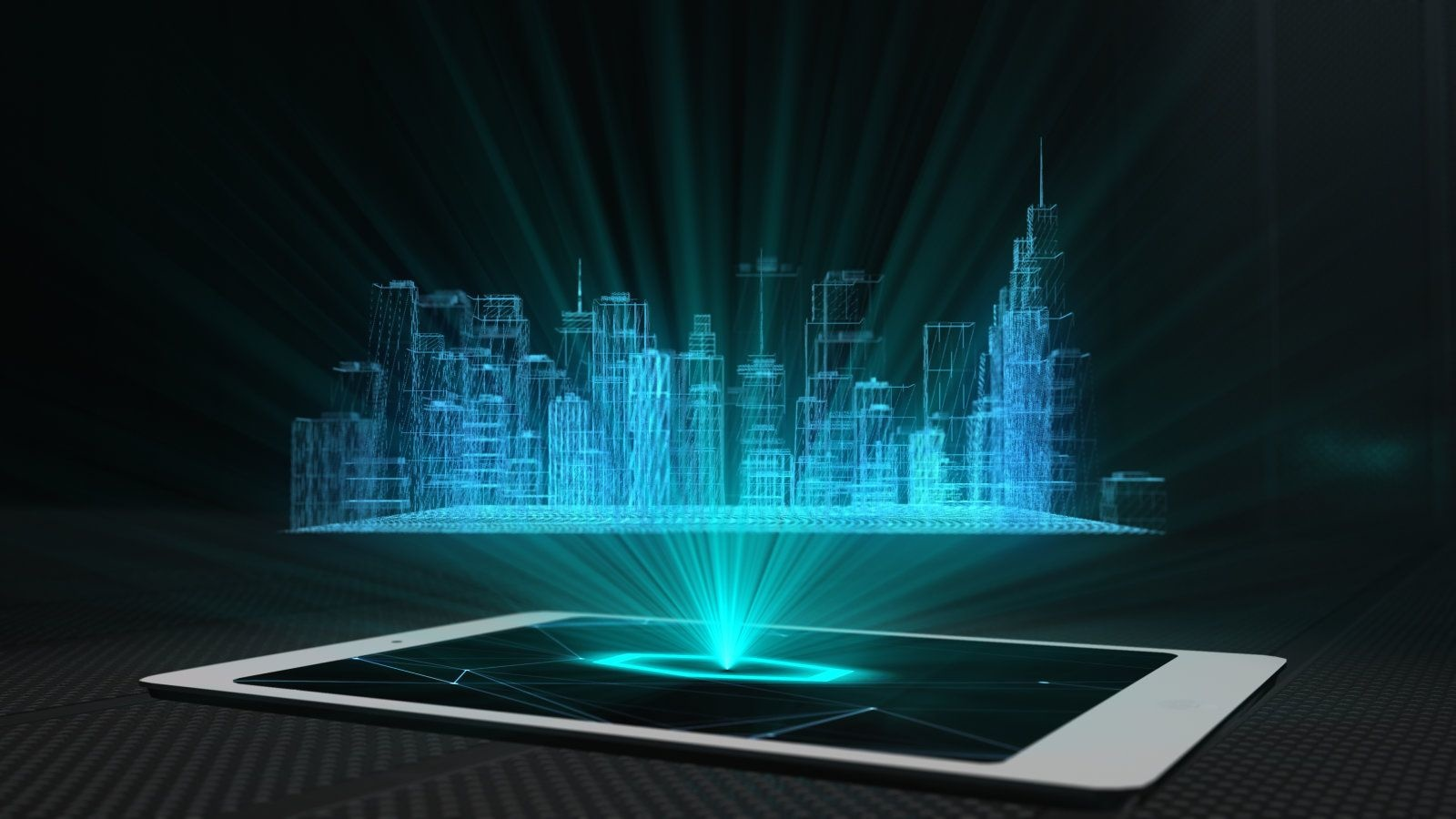 Conceptual design 3d render of a futuristic holographic display mobile smart phone tablet device with hologram projection technology