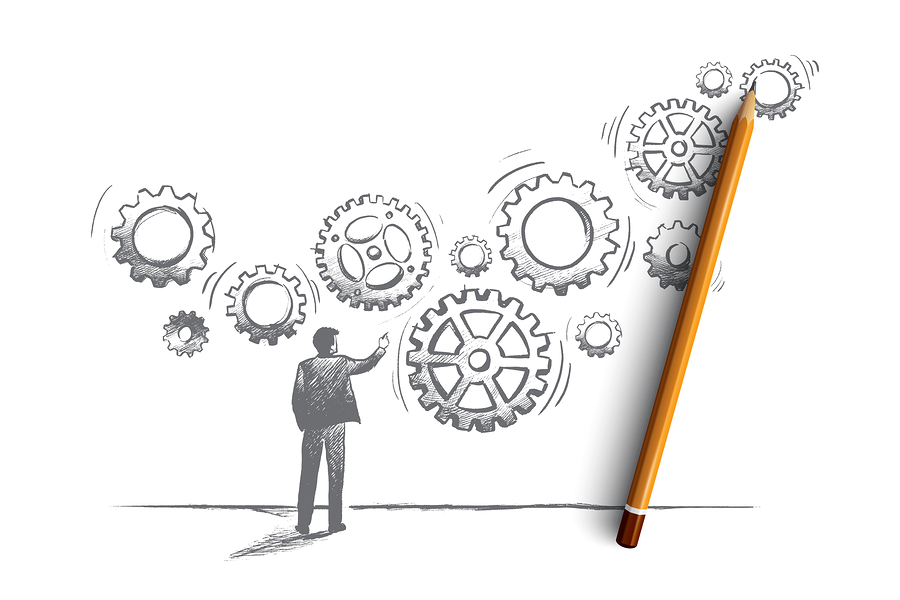 Business system concept. Hand drawn manager builds a business system with gear. Teamwork with gear system isolated vector illustration.